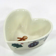 "Hartstone Pottery CHRISTMAS TRADITIONS 6.5"" Heart Bowl Candy Ornament Stocking"
