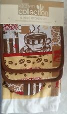 RARE 5 pc SET: 2 POT HOLDERS,1 OVEN MITT & 2 TOWELS, COFFEE CUP & BEANS by KC