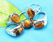 wholesale 10p Thick Silver mixed 100% Natural Tiger's eye ring 6-10