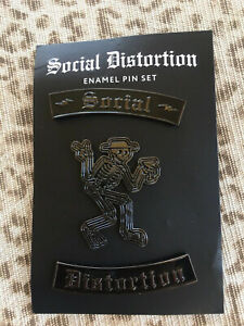 Social Distortion Skelly 3 Enamel Pin Set Punk Rock SoCal Mike Ness Greaser