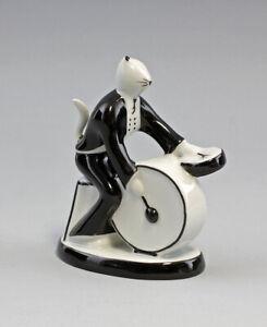9986195 Porzellan Figur Katze Schlagzeug Musiker 50er Jahre Stil H13,5cm