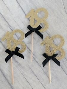 12 x 18th gold glitter cupcake toppers with bow 18 eighteenth birthday cake