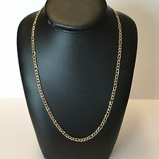 """9Carat (9ct) Gold Unusual Figaro Chain - Yellow Gold - Solid - 24"""" Long - 11.28g"""