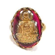 SoHo® Ring vintage bronze bohemia oval Buddha pink goldbronze handgemachtes Glas