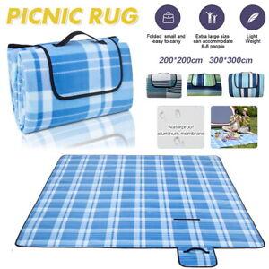 Extra 3-Layers Soft Picnic Blanket Rug Waterproof Folding Mat Camping Beach 2-3m