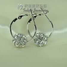 18CT White Gold Plated Elegant  Hoop Earrings Made With Swarovski Crystals