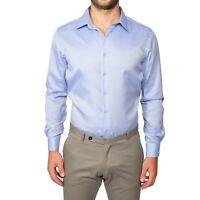 Camicia Uomo SlimFit Cotone Blu Manica Lunga Sartoriale Classica S M L XL XXL