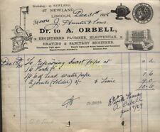 1929 LINCOLN, A. ORBELL, LOVELY ILLUSTd. BILLHEAD, PLUMBING, ELECTRICAL, HEATING