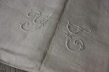 Antique French linen sheet white monogram c1880's linen textile 82X110