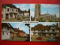 POSTCARD RP SUFFOLK LAVENHAM MULTI VIEW - SWAN HOTEL - CHURCH - WATER ST - GUILD