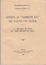 STORIA KRATZ LETURIA INTORNO AL CLEMENTE XIV DEL BARONE VON PASTOR 1935
