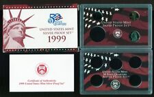 1999 U.S. MINT PARTIAL SILVER PROOF SET w/box and COA no quarters LINCOLN