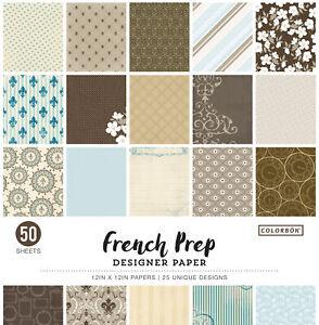 Colorbok 68lb Designer Single-Sided Paper 12X12 50/Pkg-French Prep, 25 Designs
