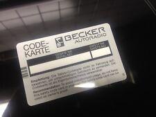 CODE-Karte Becker Auto Radio, Europa Grand Prix Mexico, Mercedes SL Porsche, NOS