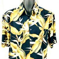 Kona Kai Silk Blend Short Sleeve Floral Bird Of Paradise Hawaiian Shirt  Size LG