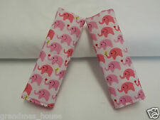 Seat Belt Covers Pink Elephants Child Car Seat Highchair Stroller Pram Capsule