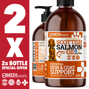 2x 500ml MediPaws® Salmon Oil For Dogs | 100% Pure Fish Oil | Omega 369 | 1000ml