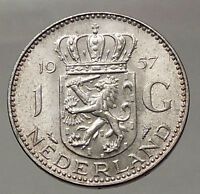1957 Netherlands Kingdom Queen JULIANA 1 Gulden Authentic Silver Coin i57761