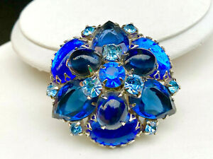 Vintage Juliana Midnight Blue rhinestone poured glass domed pin STACKED BEAUTY!