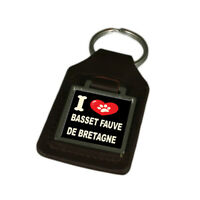 I Love My Dog Engraved Leather Keyring Basset Fauve De Bretagne