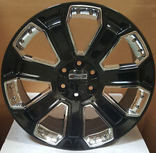 "22"" GMC Yukon Denali Style Wheels Gloss Black Rims Fit Sierra Tahoe Silverado"