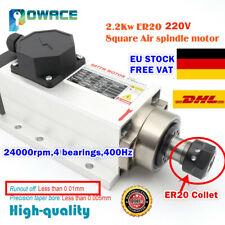 【DE】2.2KW Air Cooled Square Spindle Motor ER20 220V 400HZ CNC Engraving Milling