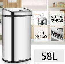 58L LCD Silver Chrome Sensor Operated Touch Less Dust Bin Cleaning Supplies