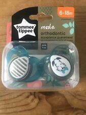 Tommee Tippee Moda Silicone Soothers 2 in Pack  Age 6/18m Boys/Girls Bpa Free .