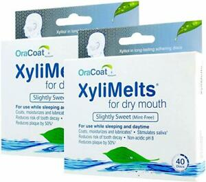 OraCoat XyliMelts - 40 Adhesive Discs Against Dry Mouth &Tooth Decay - Neutral