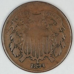 1871 United States Two-Cent Copper Piece - VG Very Good Condition