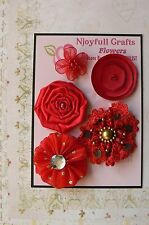 HANDMADE 5 Flower Mix RED Organza Satin Lace Fabric 30 - 50mm NjoyfullCrafts