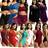 Women Lady Lyrical Dance Dress Lace Ballet Dance Costume Leotard Unitards Skirts