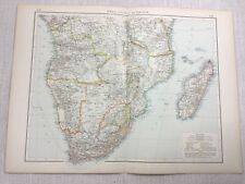 1899 Antique Map of South Africa Madagascar Bechuanaland Old 19th Century