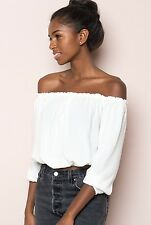 Brandy Melville White cropped cotton off shoulder ruffle trimmed Maura Top S/M