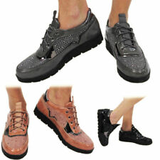 New Womens Trainers Girls Platform Shoes Ladies Flat Oxford Brogue Lace Up Shoes