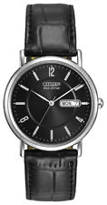 Citizen Eco-Drive Men's Black Dial Black Leather Strap 36mm Watch BM8240-03E