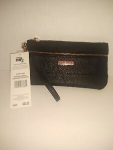 WOMEN'S ADRIENNE VITTADINI Two Zip Pocket Wristlet Black Pebble Rose Gold PVC,