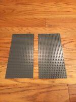 "2 LEGO Dark Bluish Gray Baseplates 16x32 Building 5"" By 10"" Town City 3857"