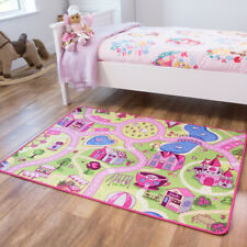 Childrens Pink Yellow Interactive FunFair Play Mat Fun Easy Clean Kids Rugs UK