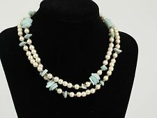 """Vintage faux cream pearl green stone gold tone necklace 30"""" long estate jewelry"""