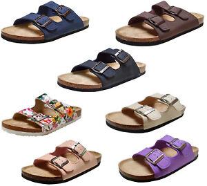 Herren und Damen Sandalen Pantoletten mit Fußbett Hausschuhe Strand Gr. 36-46