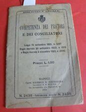 COMPETENZA DEI PRETORI E DEI CONCILIATORI napoli Editrice Pietrocola 1924