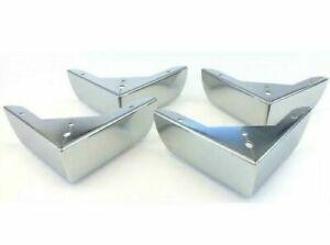 4x Chrome Metal Furniture Corner Legs Feet Sofas Stools Pre Drilled 10cm x 5cm
