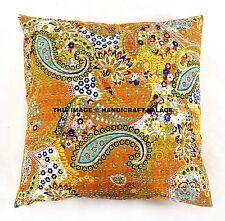 "Paisley Print Kantha Pillows Indian Outdoor Cushion Cover Vintage Boho Throw 24"""