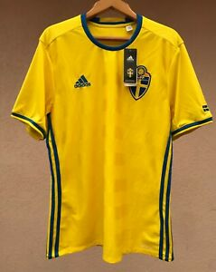 SWEDEN NATIONAL TEAM 2016 HOME FOOTBALL SOCCER SHIRT JERSEY CAMISETA ADIDAS