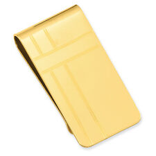 Kelly Waters Yellow Gold Plated Criss Cross Pattern Engravable Money Clip
