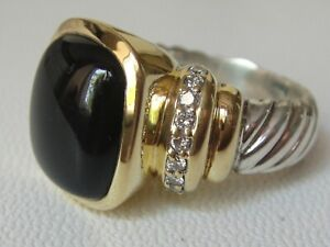 $2450 DAVID YURMAN 18K GOLD,SS LARGE NOBLESSE BLACK ONYX DIAMOND RING