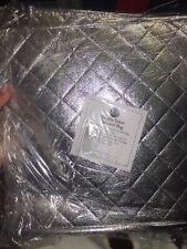 Joy Mangano- Double Sided Garment Bag- Zipped Closed- Metallic Silver- New