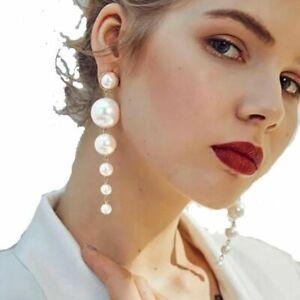 Big Long Drop Pearl Gold Statement Dangle Earrings Wedding Party Gift Jewellery