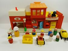 Vintage Fisher Price #997 Play Family Village Fire House Post Office  1973